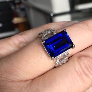 Blue Topaz/CZ Ring